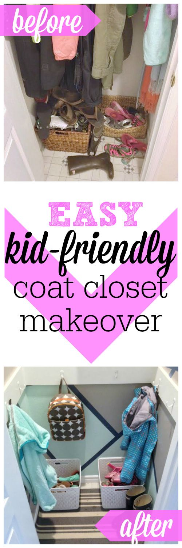 Easy, kid-friendly coat closet makeover