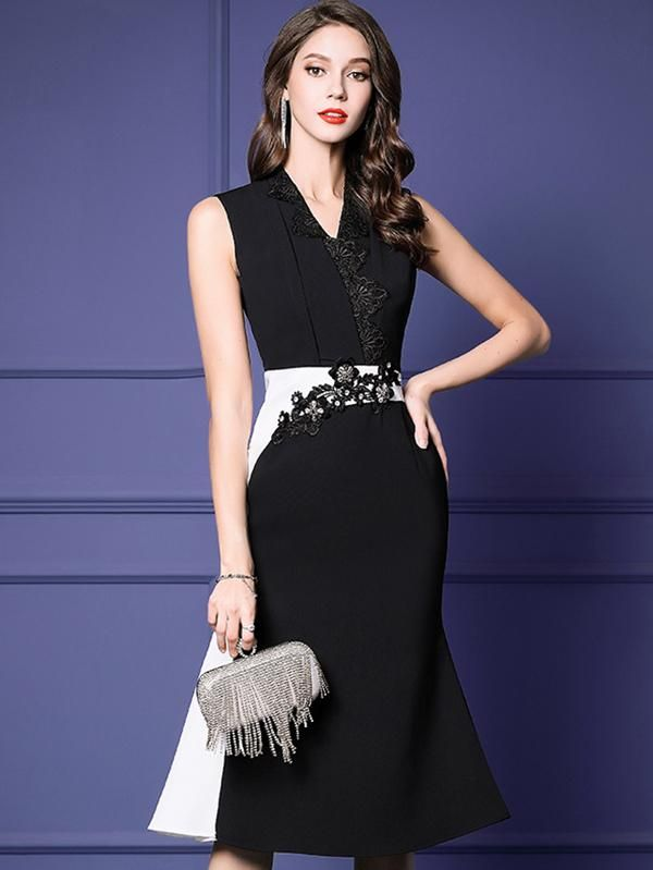 Fashion Beaded Sleeveless Patchwork Bodycon Dress