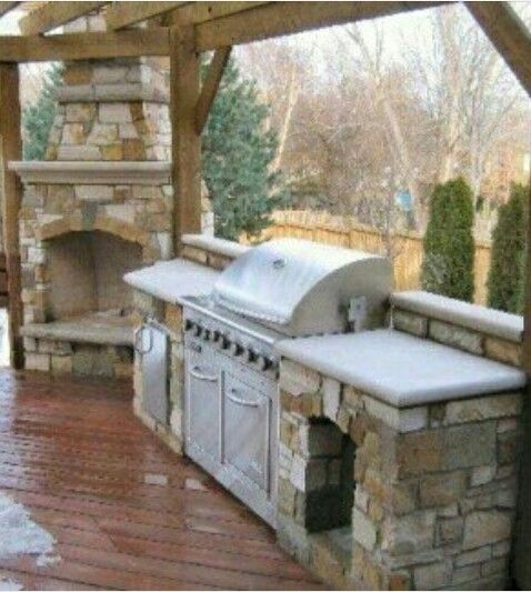 Fireplace Near Kitchen: Stone Grill Island☆fireplace ☆Outdoor Kitchen