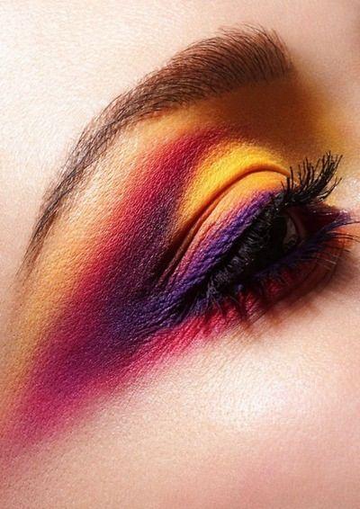 Yellow purple pink eye shadow
