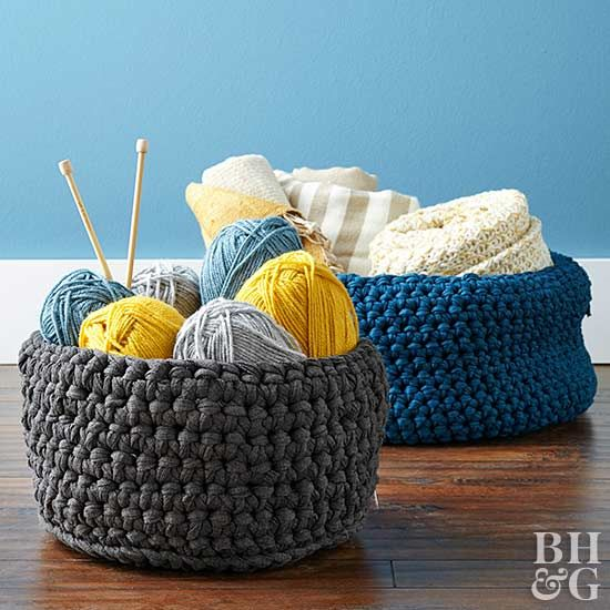 DIY this stylish storage solution that's perfect for holding crafts supplies, blankets, or other knickknacks with these simple step-by-step instructions. The best part? This inexpensive crochet basket can easily be customized to be as big or as tall as you need.