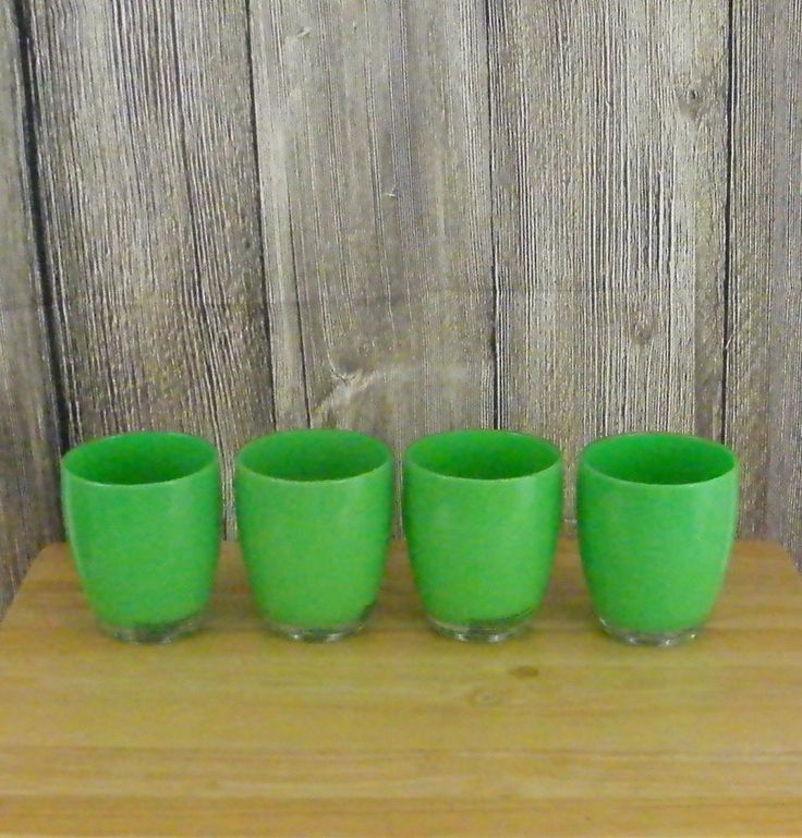 Set of 4 Insulated Plastic Tumblers 12 oz. Bright Green Summer Drinking Glasses #Unbranded