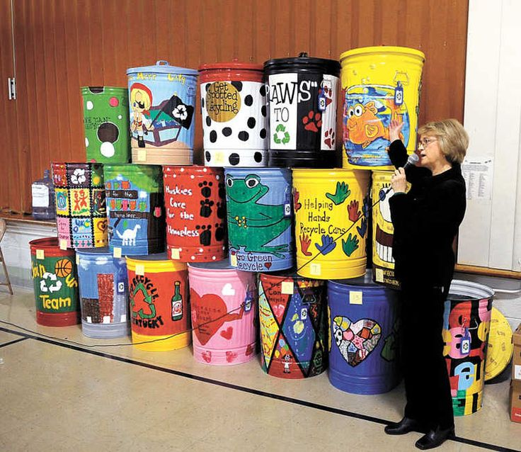 125 best images about painted rain barrels trash cans on for Best out of waste ideas for college students