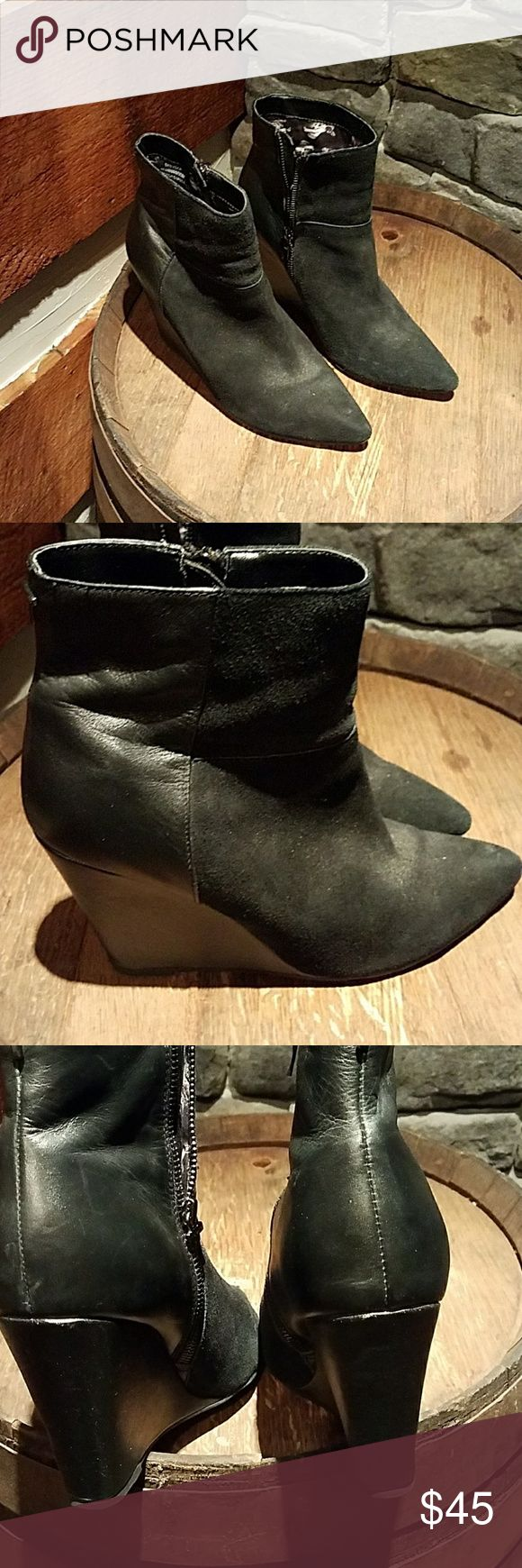 "Ted Baker leather suede ankle boots Ted Baker leather and suede ankle boots. Gently used. Heel height is 4"". Ted Baker Shoes Ankle Boots & Booties"