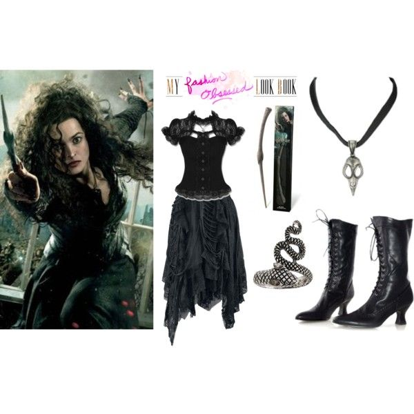 Halloween DIY Costume: Bellatrix by nereyda1003 on Polyvore featuring Hell Bunny and ASOS