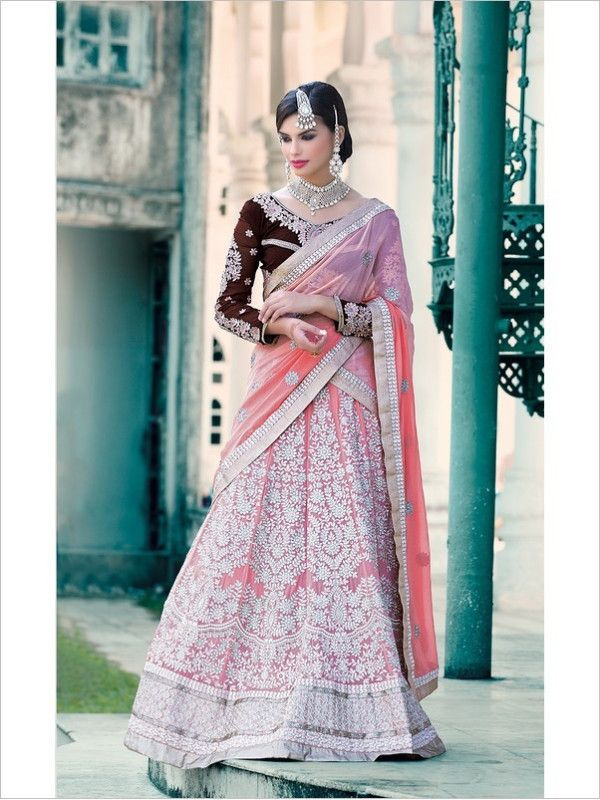 Pink Wedding Georgette Women Lehenga