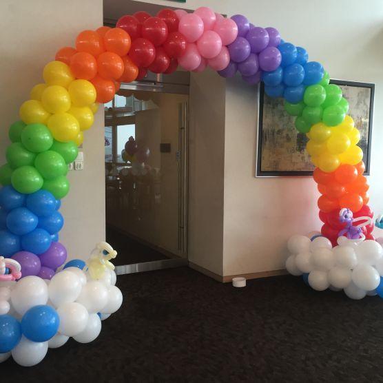 Rainbow balloon arch balloon arch decoration pinterest for Balloon decoration ideas pinterest
