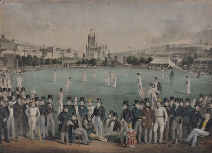 Aquatint, 19th century. Shows a cricket match on field north of St Peter's church, Brighton. A crowd of men in top hats can be seen in the foreground.