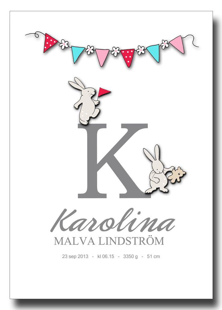 Personlig bokstavstavla - kaniner (flicka)