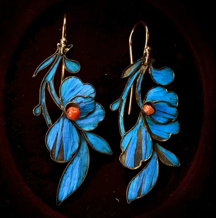 19th Century Chinese Kingfisher Feather & Coral Earrings, 14K Wires, (sold)  These are as found, but were likely adapted into earrings from something else— probably a hair ornament.  They work well as earrings though, and the color and sheen of the feathers is still incredibly vibrant.