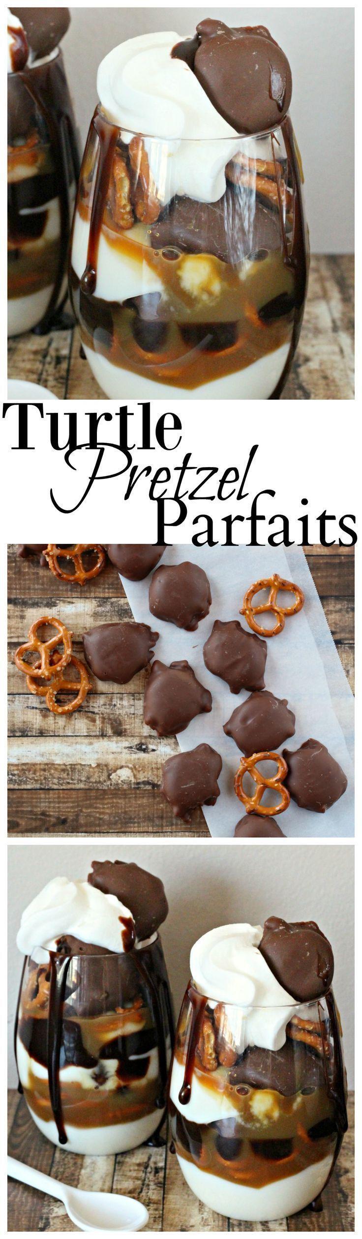Layers of vanilla yogurt, caramel, fudge, pretzels, and turtle caramel nut clusters make for a delicious parfait.