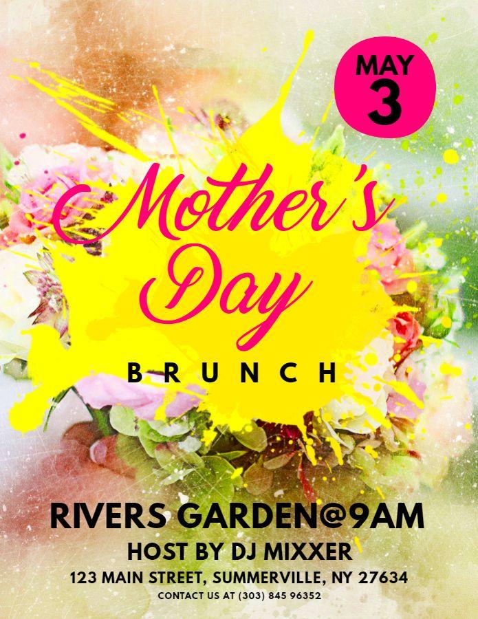 Printable Mother S Day Brunch Flyer Template Design