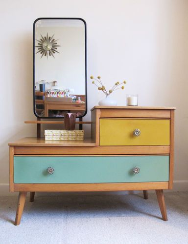 Fantastic Retro Wood Dressing Table Vintage Colored Drawers 50s 60s Mirror...love https://emfurn.com/collections/dining-chairs https://emfurn.com/