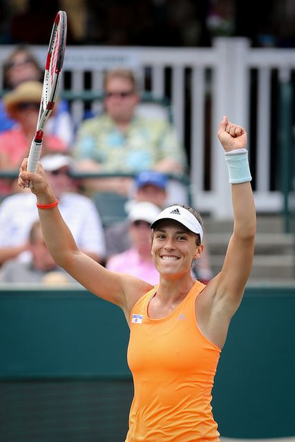 Petkovic celebrates after one of her wins!