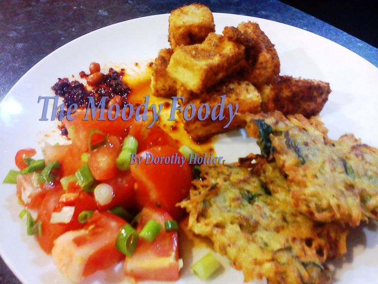 Fried foods are not the biggest no no, add some raw veg and lemon to make sure that comfort food is also healthy. Rosti's & Tofu with a side of zesty tomato salad