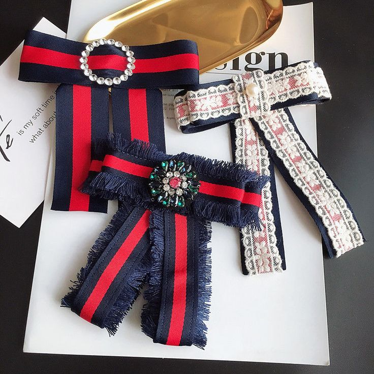 Lace Grograin Ribbon Crystal Fashion Ladies Men Pre Tied Bow Brooch Pin #Handmade