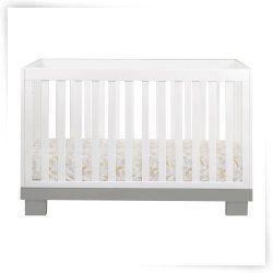 Modo 3-in-1 Convertible Crib with Toddler Bed Conversion Kit - Gray/White