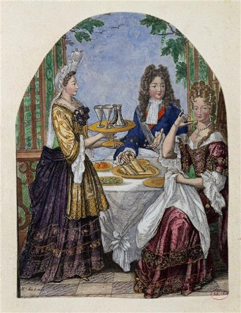The Duke and Duchesse de Bourgogne being attended by her maid of honor Madame de Lude