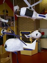 Paper mache helicopters.