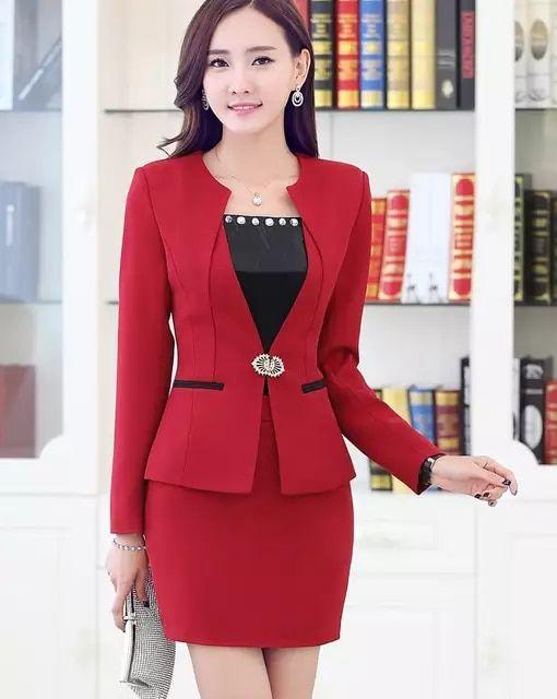 Tienda Online Nuevo 2016 primavera otoño mujeres formales elegantes trajes  de falda chaqueta de color rojo y sistemas Jacket moda ropa de trabajo los  trajes ... 3b3b8b9c250