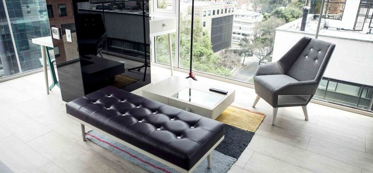 Interior & furniture design by DOSUNO Design and ODA. Hotel Click Clack, cool, spaces, lobby, chair, green wall, bogota, creative, decoration, ideas. room, view, window, modern, minimal.