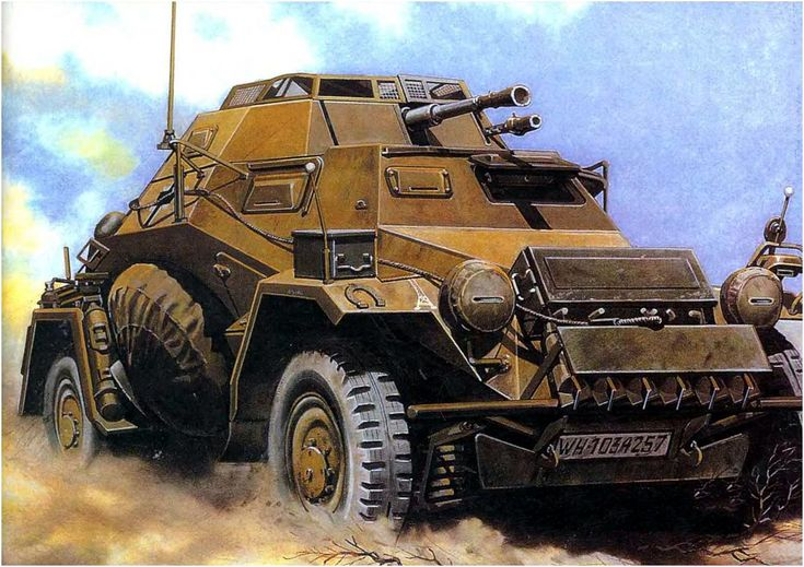 Sd.Kfz. 222 Leichter Panzerspahwagen del Afrika Korps. Libia 1.941. Las cajas actuaban como un blindaje extra. Más en www.elgrancapitan.org/foro/