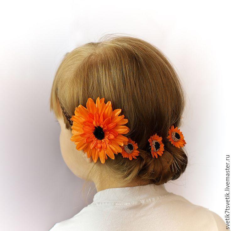 """Купить Украшения для волос из атласных лент  """"Герберы"""" - оранжевый, гербера, греческая повязка, греция, брошь"""