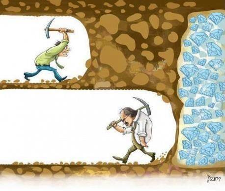 On a tous des moments de découragement et lorsque l'on voit d'éclatantes réussites on a toujours tendance à omettre les difficultés que les personnes ont pu avoir avant d'en arriver là. On peut douter, avoir des coups de mou, mais il faut repartir, pratiquer, avancer, encore et toujours.