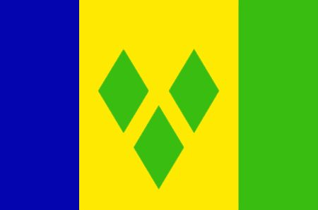 St. Vincent and the Grenadines - The flag of St. Vincent and the Grenadines was officially adopted on October 12, 1985.  The blue is symbolic of the sky, yellow for the almost constant sunshine, and green for abundant vegetation. The Gems of Antilles (centered), are placed in the shape of a V, one that represents St. Vincent.