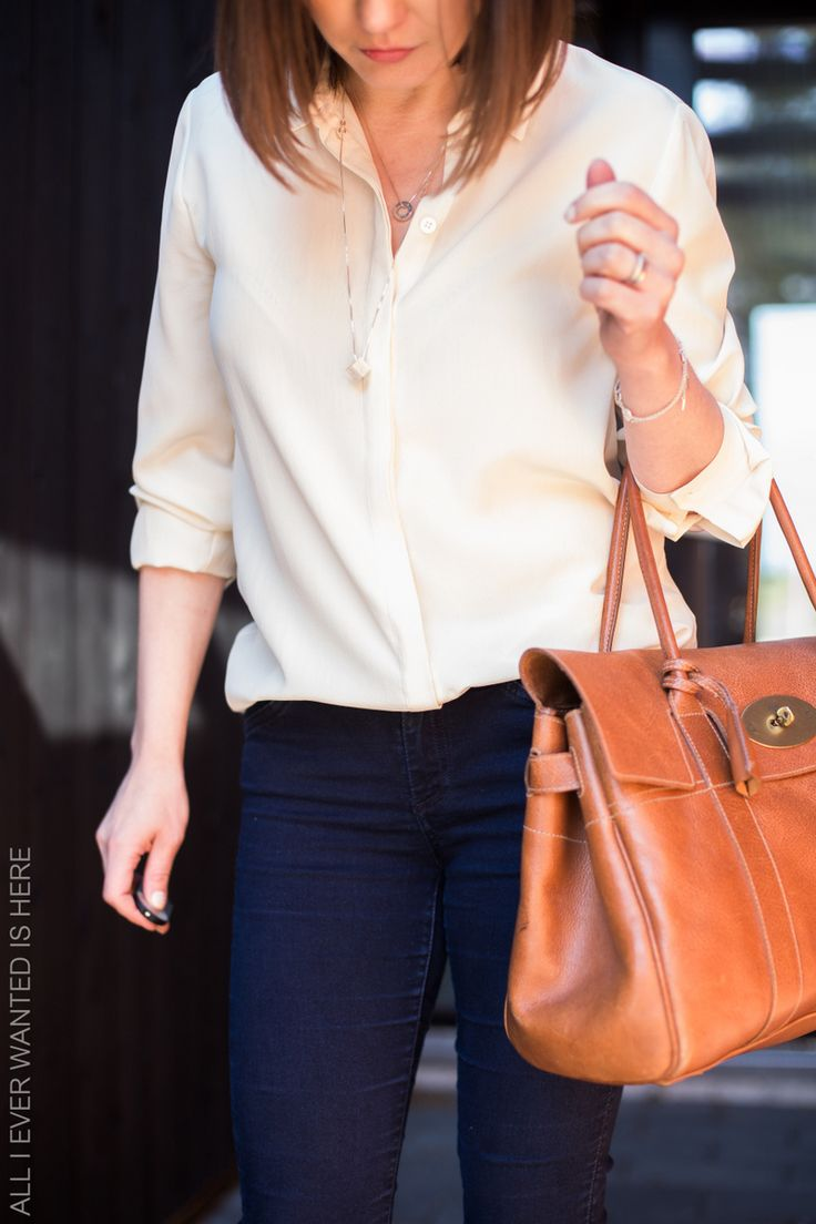 Off white silk blouse and dark blue jeans from Filippa K, bag Mulberry Bayswater / All I ever wanted is here-blog