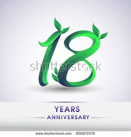 eighteen years anniversary celebration logotype with leaf and green colored. 18th birthday logo on white background.