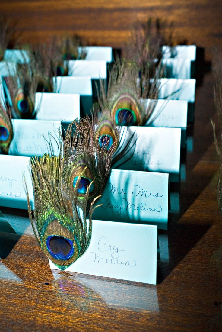Peacock escort cards from a Chic Productions