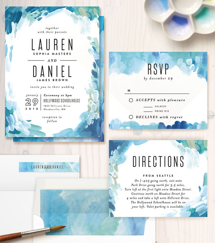 Gallery Abstract Art Customizable Wedding Invitations In Blue By Alethea And Ruth