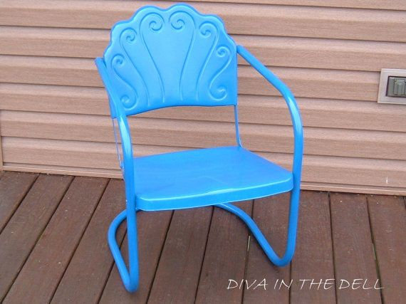 RARE Mid Century True Blue  Shell Back Swirel by DivaInTheDell