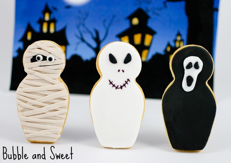 Mummy, Ghost and Screaming Ghoul Babushka cookies