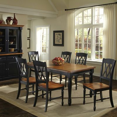 Home Styles Monarch 7 Piece Dining Table With 6 Double X Back Chairs    Black U0026 Oak   Dining Table Sets At Hayneedle