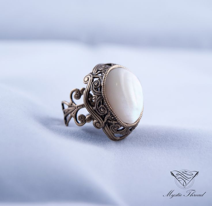 Mother of pearl gothic victorian adjustable ring / e-shop: www.mysticthread.com / facebook: www.facebook.com/mysticthread.ltd  #mysticthread #gothicshop #gothicring #victorianring #pearlring #gothicjewelry #victorianjewelry #adjustablering  #vintagejewelry #vintagering #pearljewelry