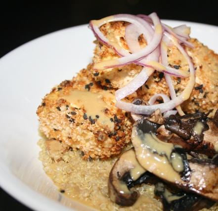 Mustard Panko Crusted Baked Tofu with Portobello Mushrooms and Quinoa