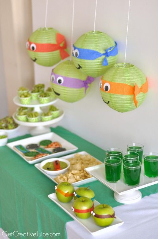 TMNT Party - TONS of ideas - TMNT guacamole, cookies, decorations and more!