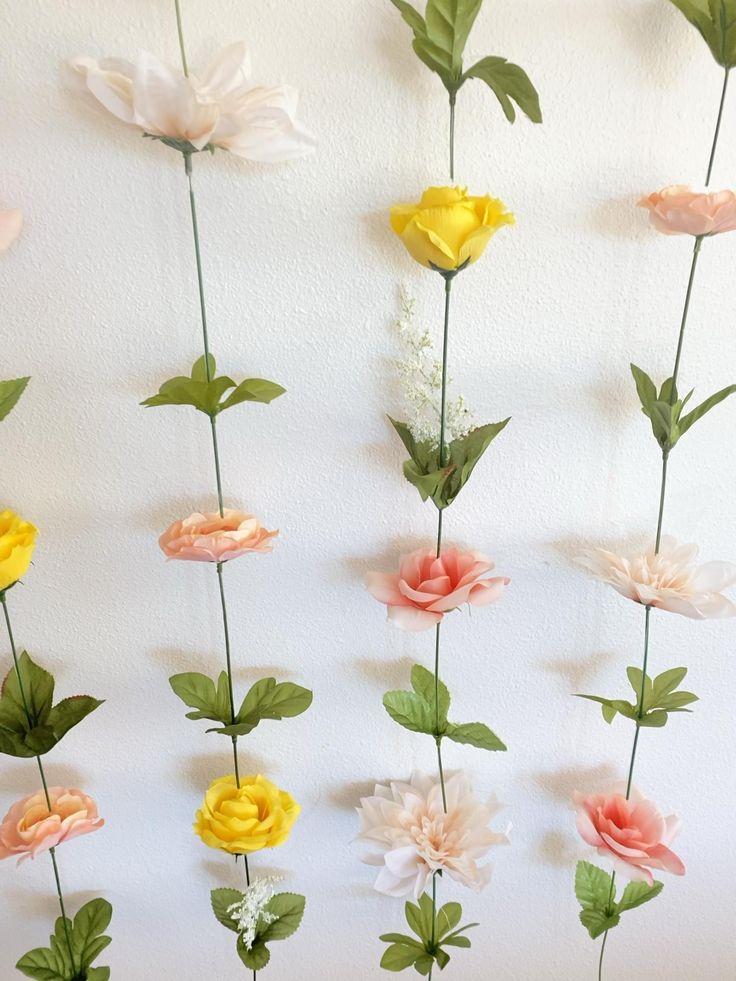 Hanging Fake Flower Wall (yellow, pink, white) [Video