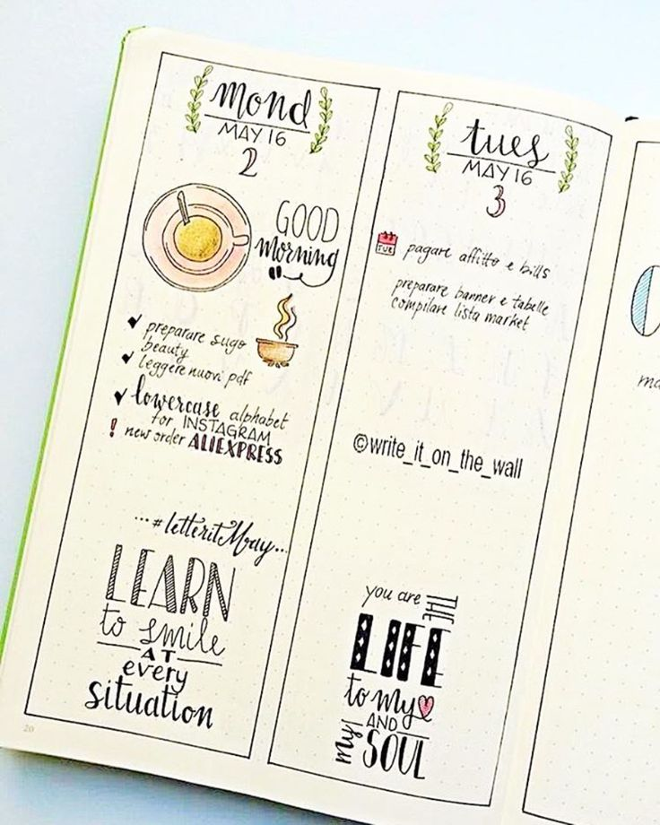 Bullet Journal Daily Spread - A ton of photos for ideas and inspiration for your bullet journal daily layout - ForeverGoodLife.com, by write it on the wall