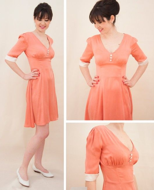 1940s Tea Dress - just the sweetest dress ever! We'll get you to grips sewing those pesky (but oh-so pretty) drapey fabrics