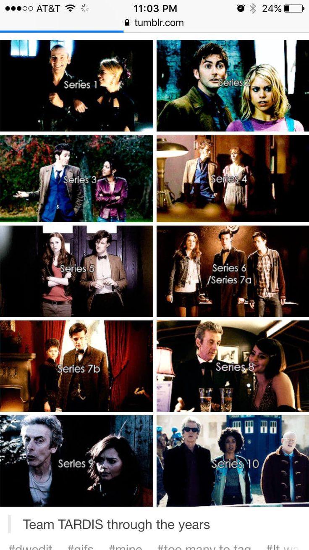 Team TARDIS through the years. Doctor Who