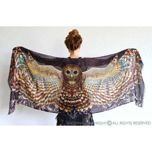 Shovava owl wingspan scarf (£98) ❤ liked on Polyvore featuring accessories, scarves, cotton scarves, bright shawl, feather scarves, owl scarves and star scarves