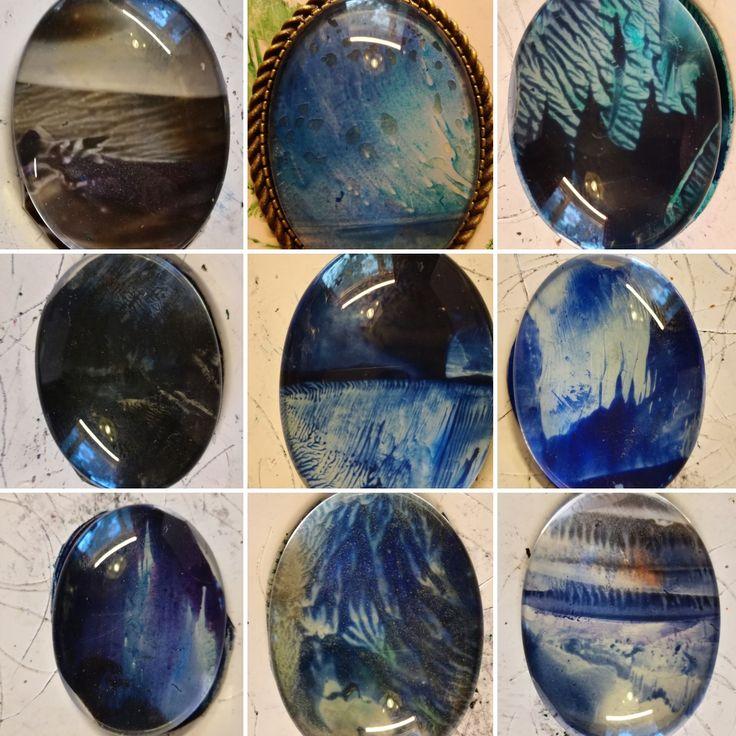 miniature encaustic paintings under glass cabochon as a pendants