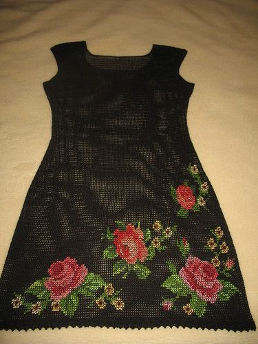 Irish crochet &: FILET DRESS + EMBROIDERY