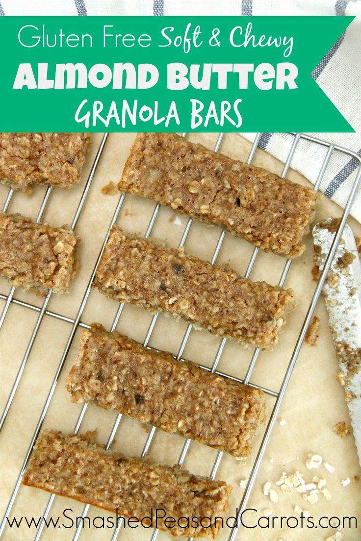 Gluten Free Soft & Chewy Almond Butter Granola Bar - sub nut meal or ...