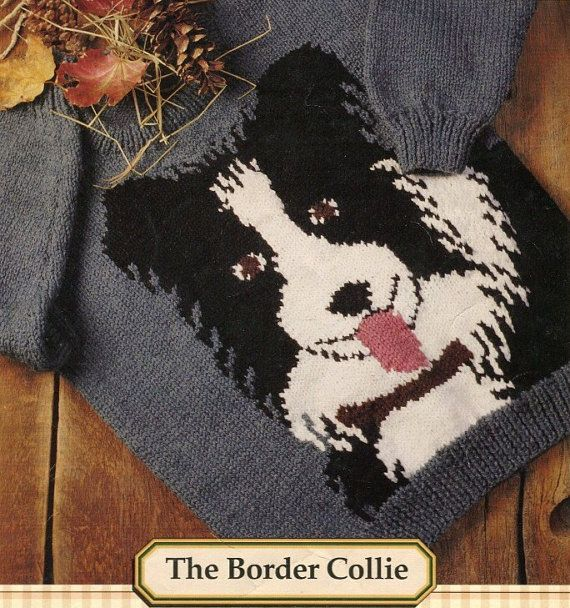 Knitting Pattern For Border Collie Dog : THE BORDER COLLIE - Knitting Pattern - Family Sizing (2 - 44) Children, Youth...