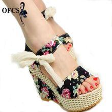 Mode Femmes Sandales Cales D'été Femmes Sandales Plate-Forme de Dentelle Ceinture Arc Flip Flops bout ouvert à talons hauts Femmes chaussures Femme(China (Mainland))