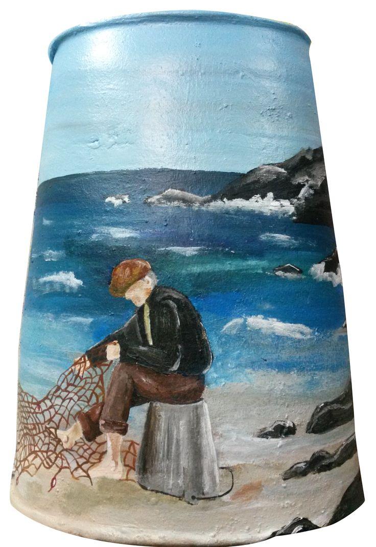 Pescador. Teja pintada